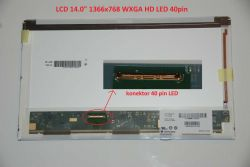 "LCD 14"" 1366x768 WXGA HD LED 40pin levý konektor"