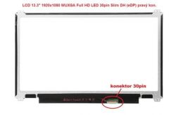 """LP133WF2(SP)(L6) LCD 13.3"""" 1920x1080 WUXGA Full HD LED 30pin Slim DH (eDP) prav.kon"""