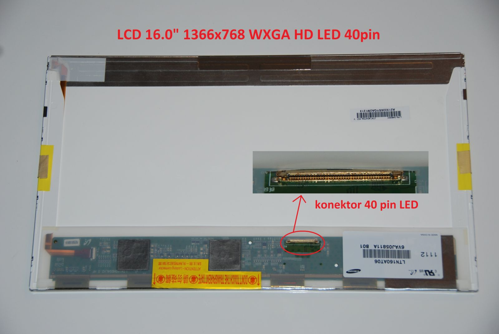 "HSD160PHW1 LCD 16"" 1366x768 WXGA HD LED 40pin display displej"