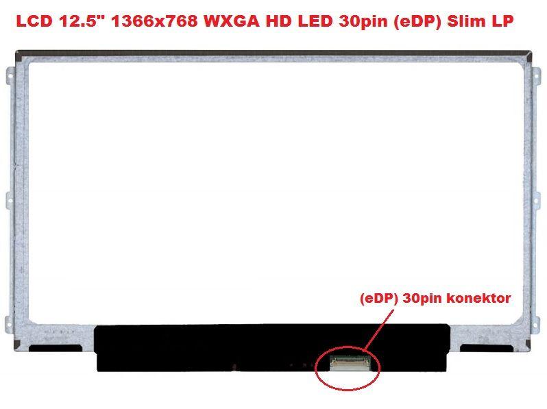 """B125XTN01.0 HW1A LCD 12.5"""" 1366x768 WXGA HD LED 30pin (eDP) Slim LP display displej AU Optronics"""