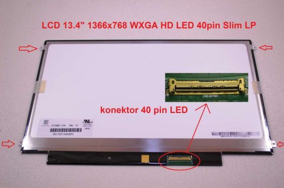 "LTN134AT01-001 LCD 13.4"" 1366x768 WXGA HD LED 40pin Slim LP display displej"