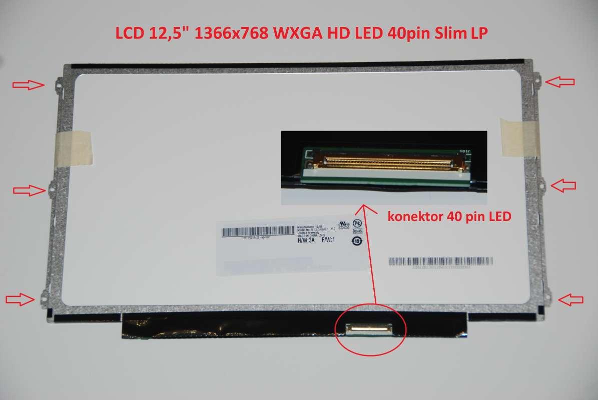 """LP125WH2(TL)(F1) LCD 12.5"""" 1366x768 WXGA HD LED 40pin Slim LP display displej LG Philips"""
