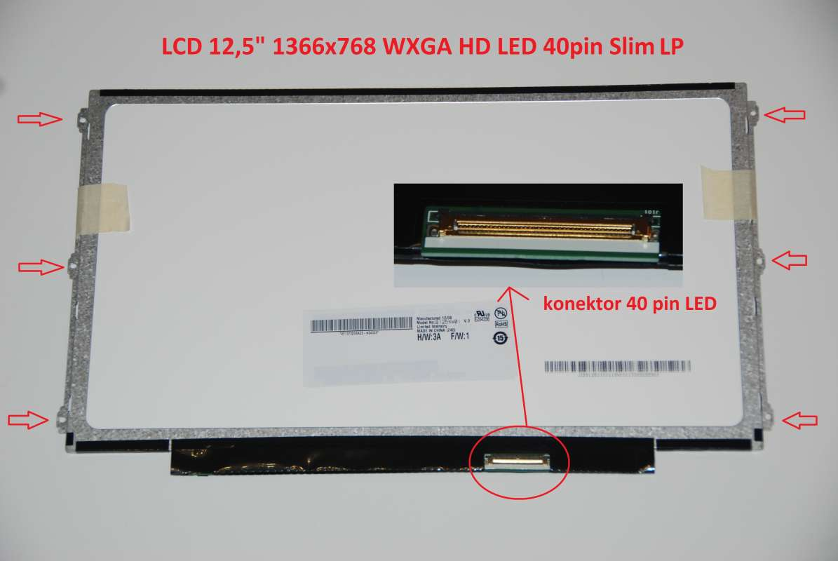 "LTN125AT01-401 LCD 12.5"" 1366x768 WXGA HD LED 40pin Slim LP display displej"