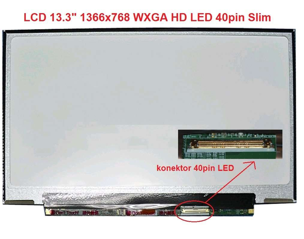 "LCD 13.3"" 1366x768 WXGA HD LED 40pin Slim lesklý"