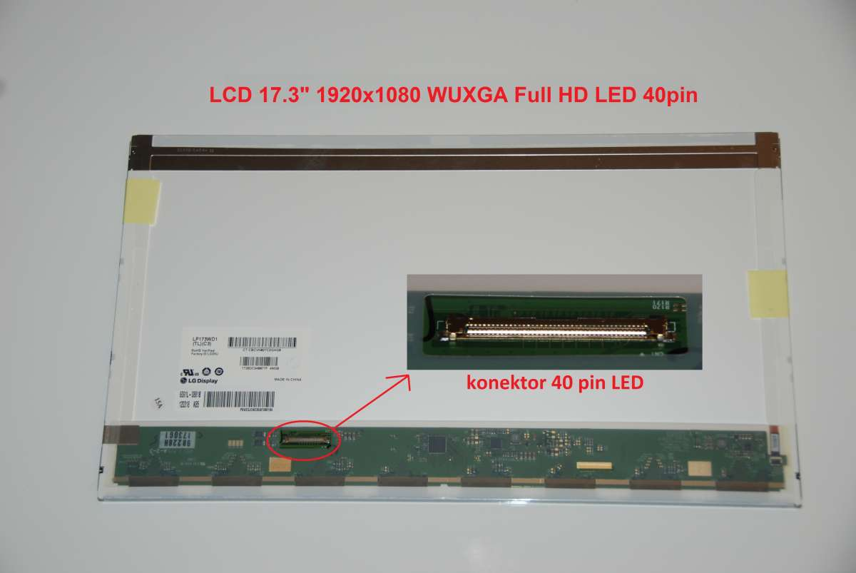 """LCD 17.3"""" 1920x1080 WUXGA Full HD LED 40pin lesklý"""