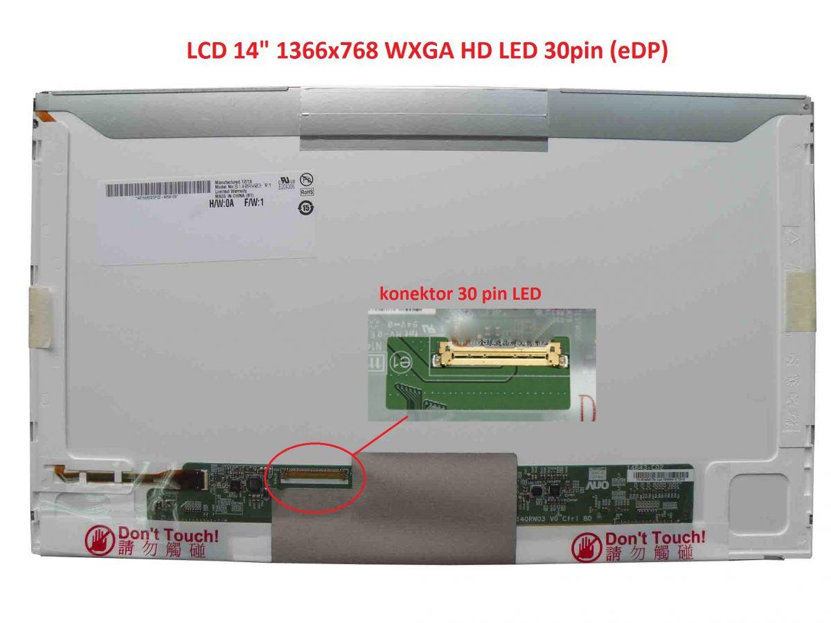"""LCD 14"""" 1366x768 WXGA HD LED 30pin (eDP) levý konektor"""