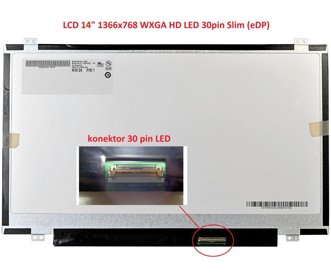 """LCD 14"""" 1366x768 WXGA HD LED 30pin Slim (eDP) lesklý"""