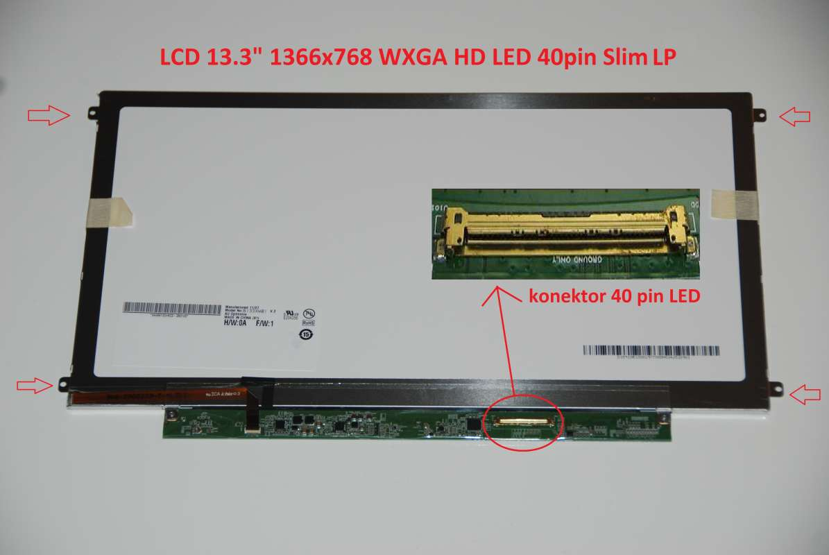 "B133XW03 V.2 LCD 13.3"" 1366x768 WXGA HD LED 40pin Slim LP display displej AU Optronics"