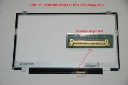 "LCD 14"" 1600x900 WXGA++ HD+ LED 40pin Slim"