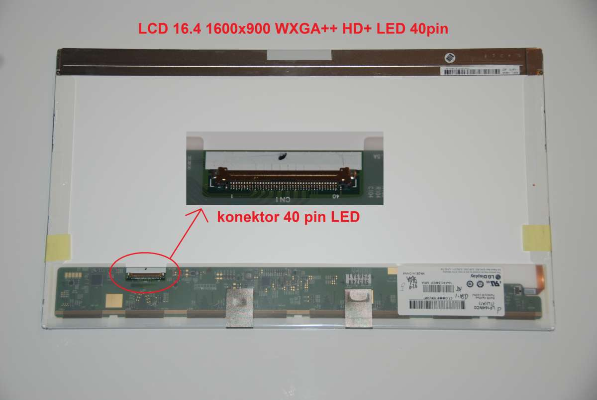 "LCD 16.4"" 1600x900 WXGA++ HD+ LED 40pin"