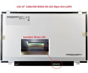 """LCD 14"""" 1366x768 WXGA HD LED 30pin Slim DH (eDP) šířka 315mm"""