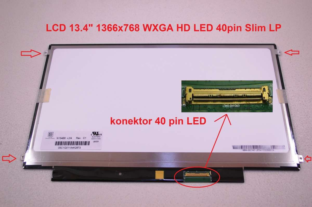 "LTN134AT01 LCD 13.4"" 1366x768 WXGA HD LED 40pin Slim LP display displej"