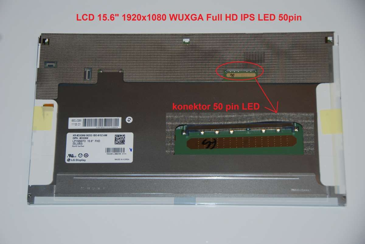 "LP156WF3(SL)(B4) LCD 15.6"" 1920x1080 WUXGA Full HD IPS LED 50pin display displej"