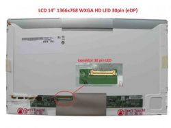 "LP140WH4(TP)(A1) LCD 14"" 1366x768 WXGA HD LED 30pin (eDP) levý konektor"