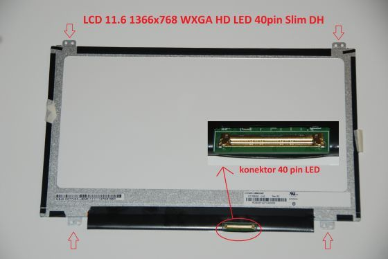 "LCD displej display Acer Aspire One 722-0624 11.6"" WXGA HD 1366x768 LED lesklý/matný"